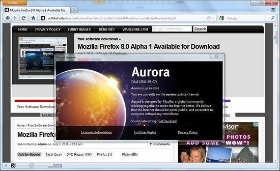 Firefox Alpha 2 Aurora
