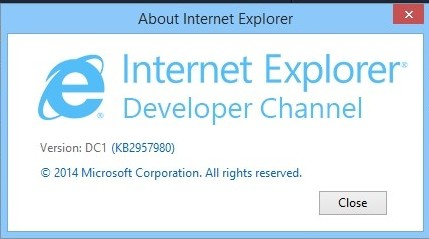 Internet Explorer Developer Channel for Windows 7 and Windows 8.1