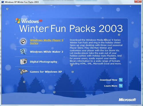 Windows XP Winter Fun Packs 2003